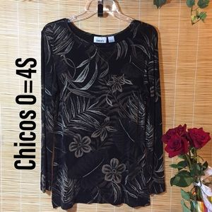 Chicos palm print knit top 0=4S